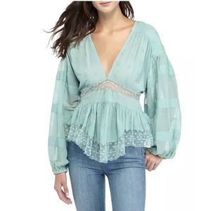 Free People M Blouse Lace Embroidered Peasant Top